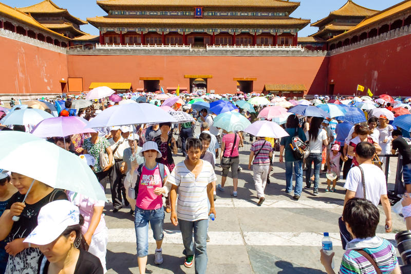 Many tourists in The Palace Museum in Beijing, China royalty free stock photo