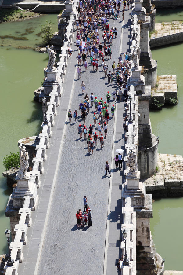Download Many Tourists On Sant' Angelo Bridge At Summer Stock Image - Image: 18361773