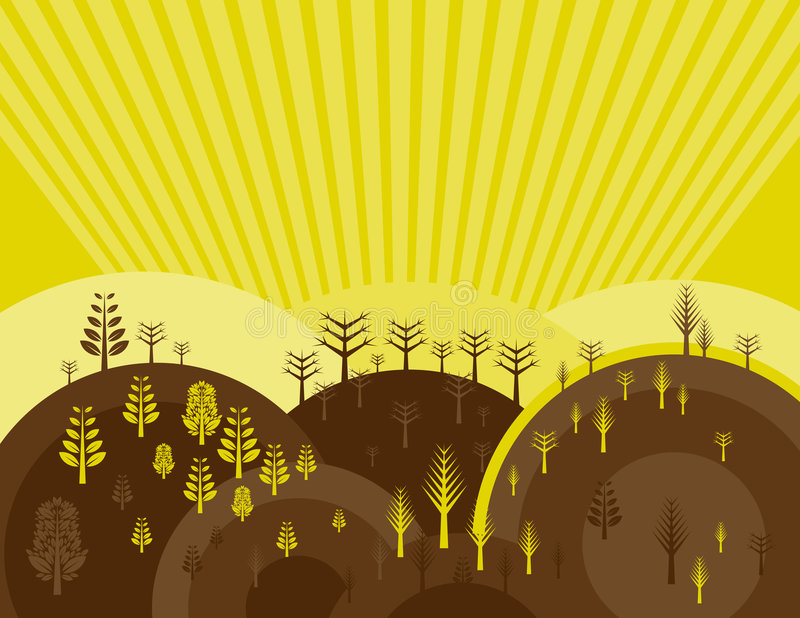 Many trees, vector stock illustration