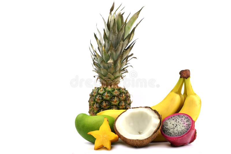 many tropical fruit ripe banana pineapple with coconut royalty free stock photography