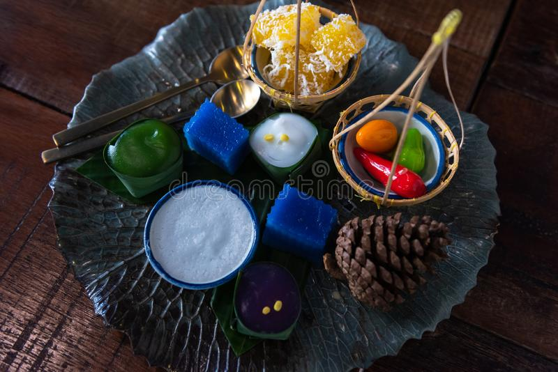 Many type of Thai sweets on dish stock photo