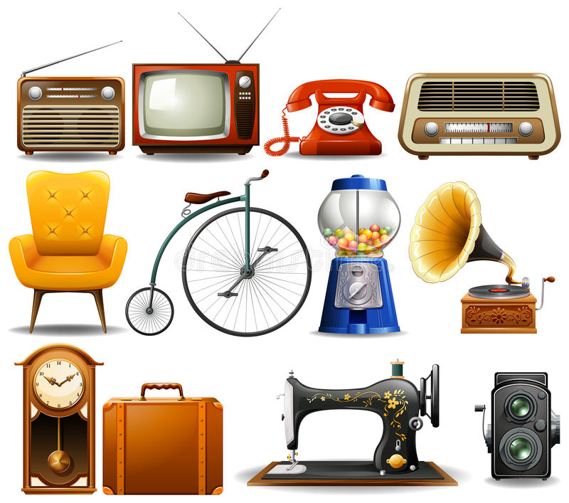 Many type of vintage objects stock illustration