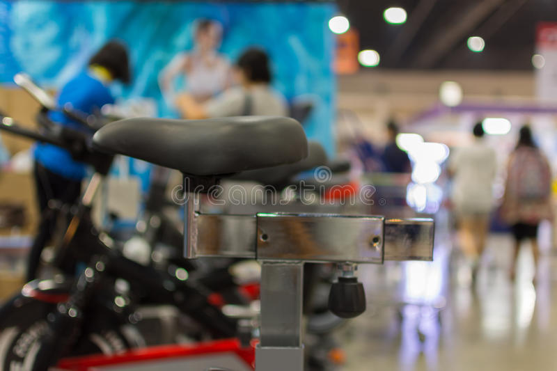 Many types of exercise machine. Shoes at shop stock photos
