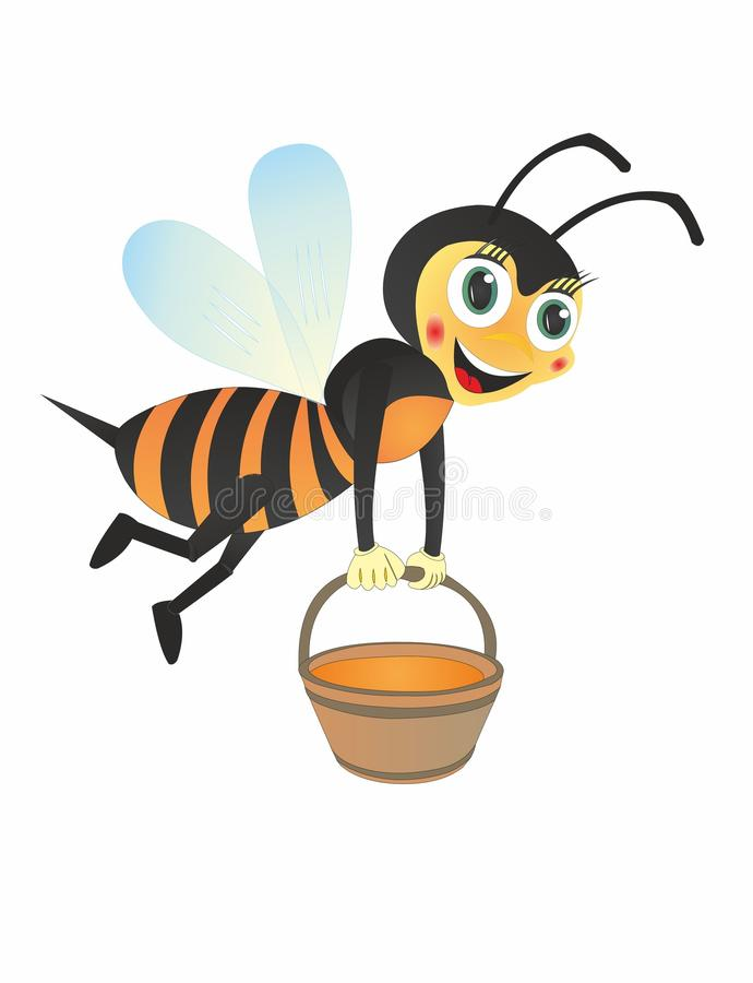 Cartoon BEE carries honey. Many types of insects collect honey, for example: bumblebees, wasps, hornets. But the bees of them are the most famous. Most of the royalty free illustration