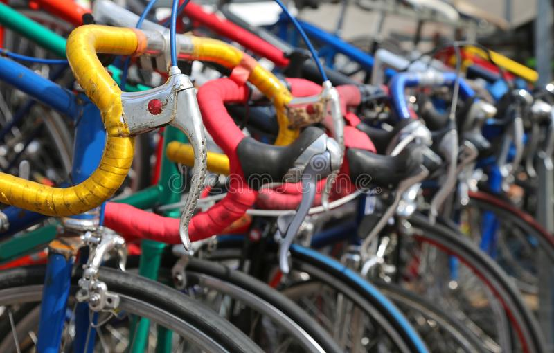 Many vintage bikes for sale on the market of used things in Euro. Vintage racing bikes for sale on the market of used things in Europe royalty free stock photos