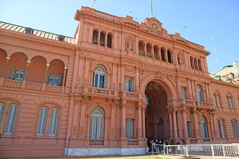 Many Visitors Waiting for Visiting the Famous Casa Rosada or the Pink House, Presidential Palace in Buenos Aires, Argentina stock image