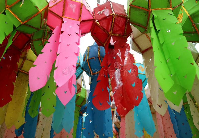 Many of Vivid Color Paper Lantern or Yee Peng Lantern Hanging in the Buddhist Temple, Nan Province, Northern Thailand stock image