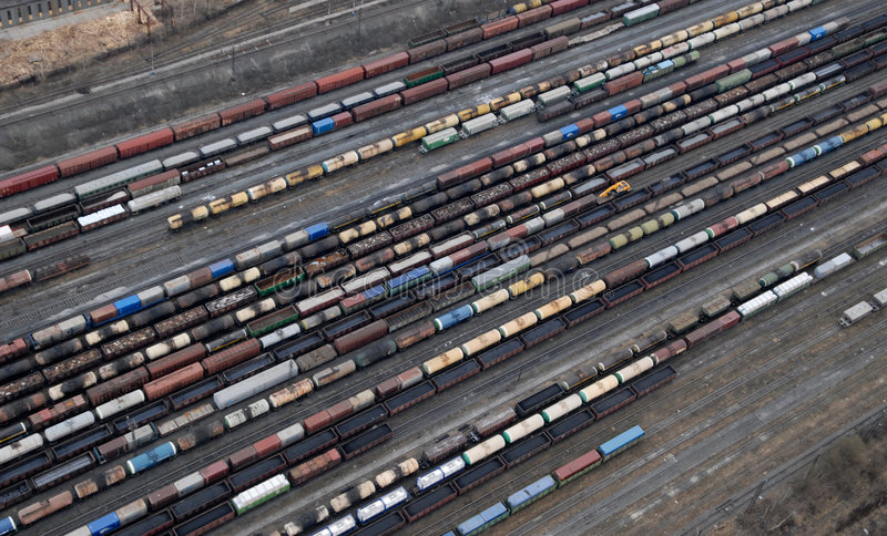 Many wagons and trains. Aerial view. stock photography