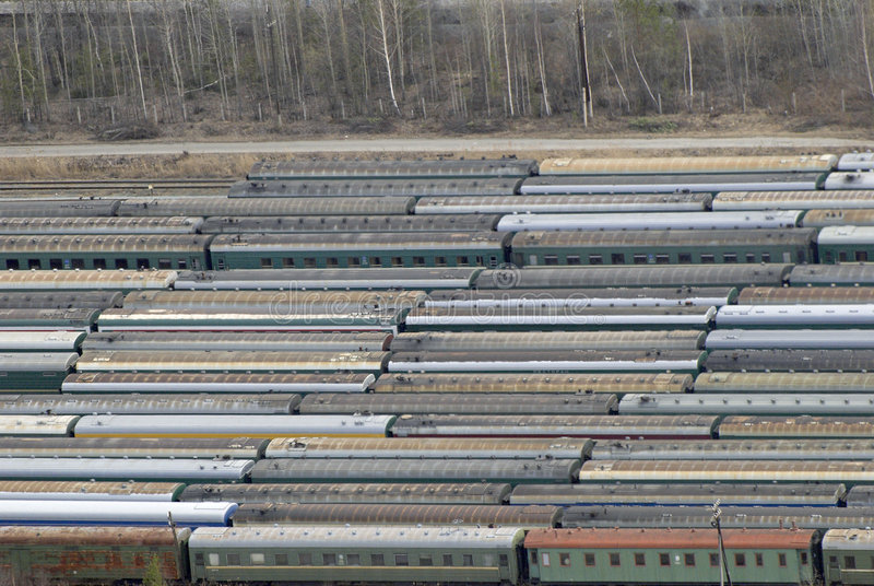 Many wagons and trains. Aerial view. Railway transport in Russia. View from a helicopter royalty free stock photo