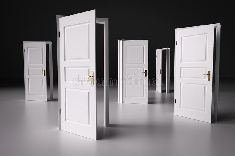 Many ways to choose from, open doors. Decision making royalty free stock photography