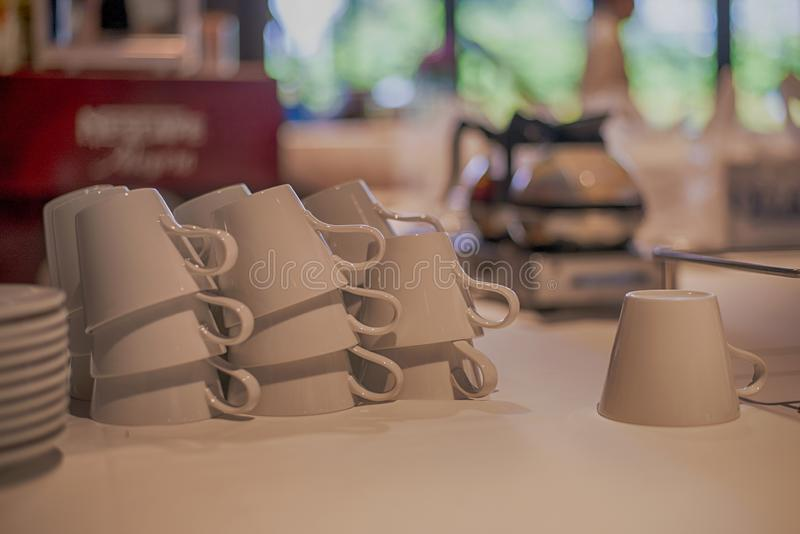 Many white coffee cups or tea of empty stock photos