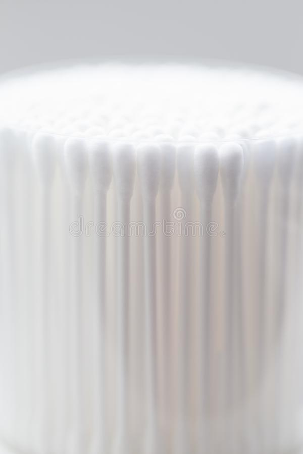 Many white cotton buds closeup, abstract background royalty free stock photos