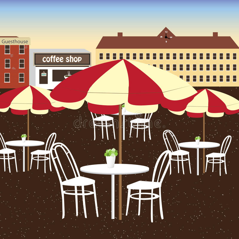 Many white dining table of coffee shop in the city.The place for people to chill out. Many white dining table of coffee shop in the city.The place for people to stock illustration