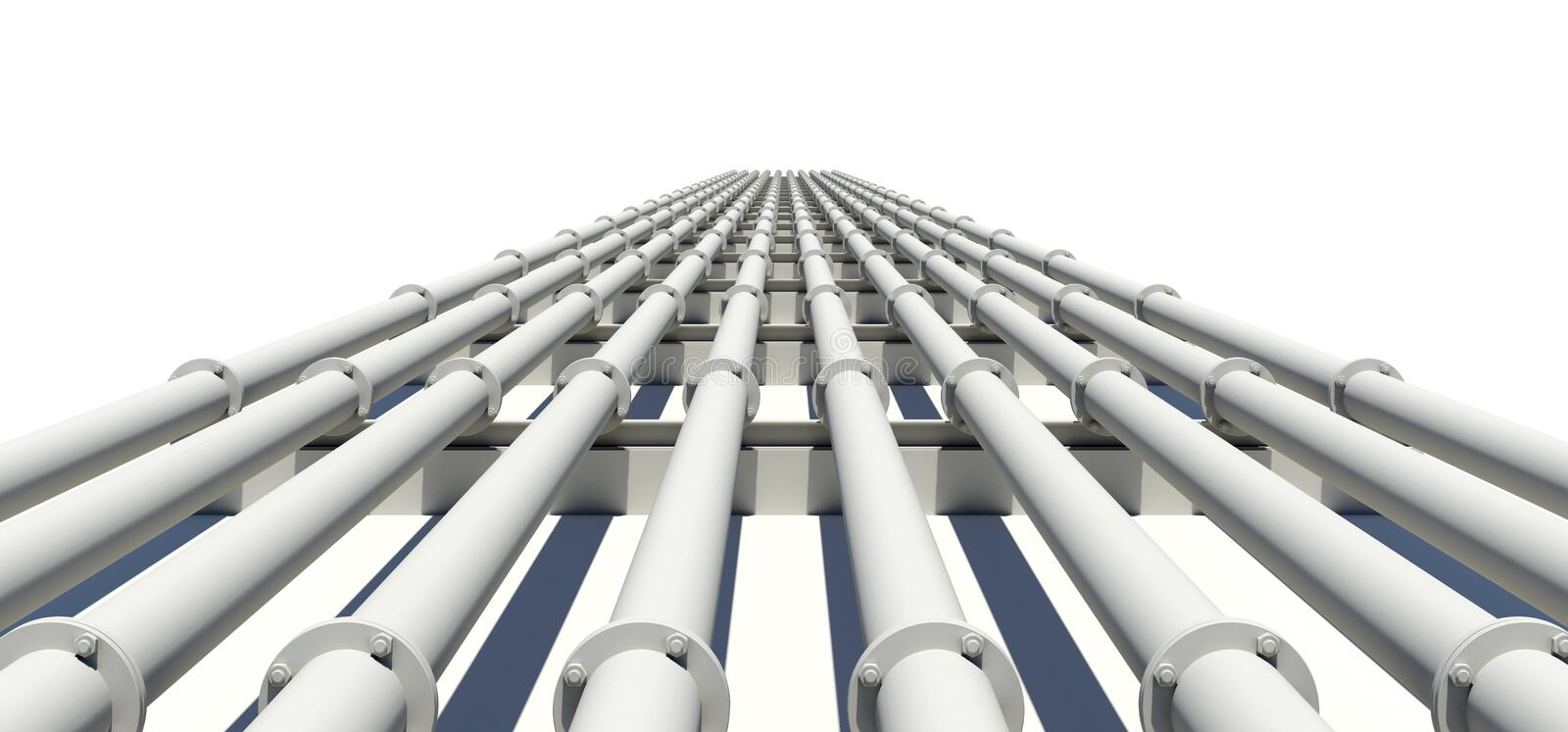 Many white industrial pipes stretching into stock illustration