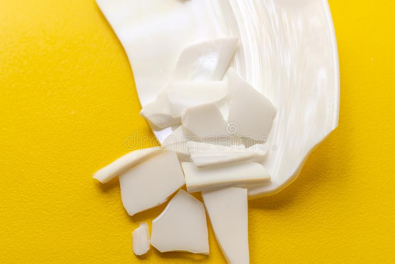 many white pieces of crashed dish tableware on the floors stock photos