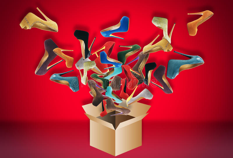 Many women's shoes. Fly out of the box. Big sale stock photos