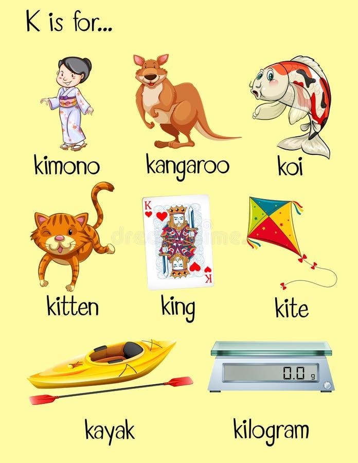 many words start with letter k stock vector illustration of