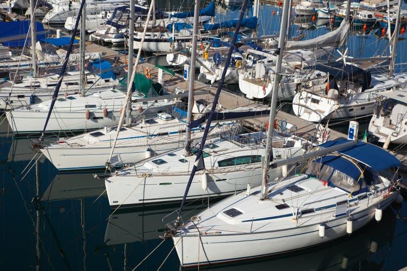 Many yachts lying at Dockyard Creek royalty free stock photography