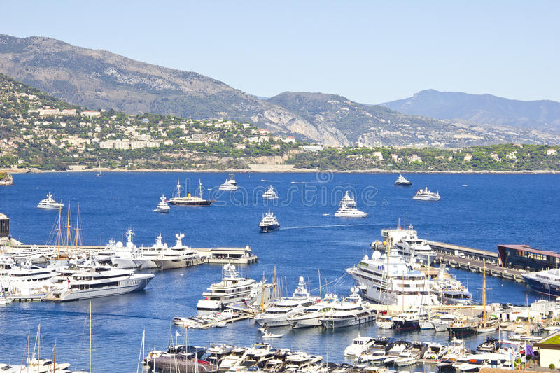 Many yachts in Monaco stock images