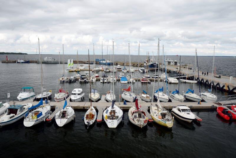 Many yachts and sailboats. stock images