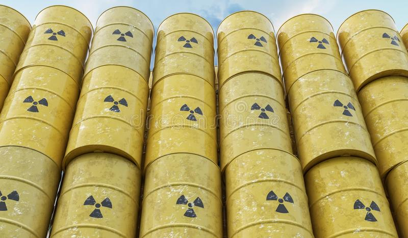 Many yellow barrels with nuclear radioactive waste. 3D rendered illustration stock illustration