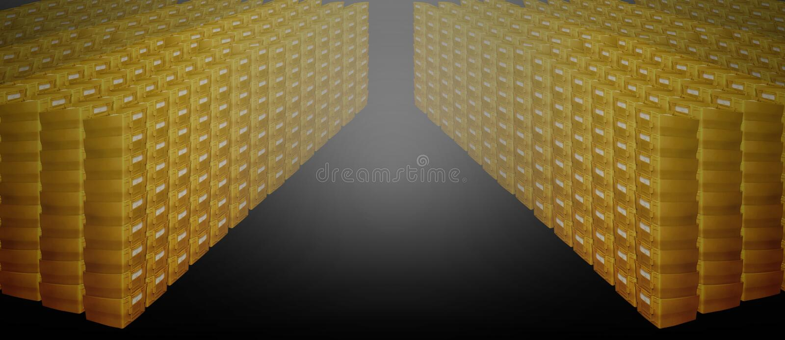 Mailboxes many pile row stack postal german yellow container royalty free stock photo
