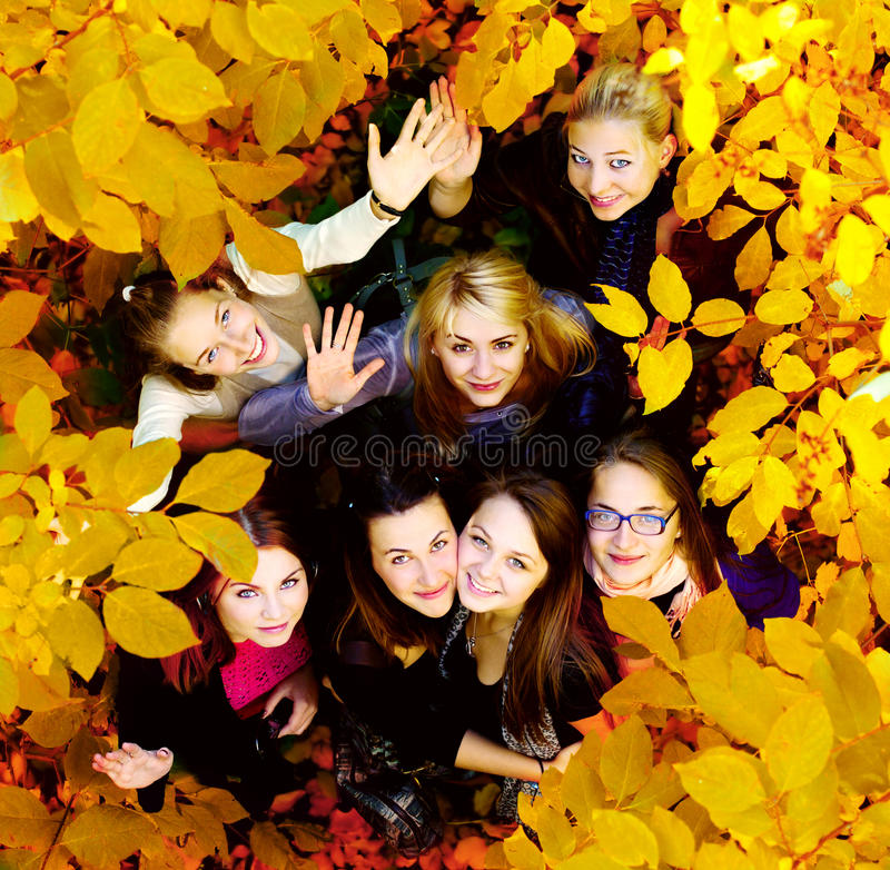 Many young girls in the autumn park. View from top stock images