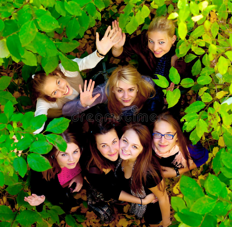Many young girls in the park. View from top royalty free stock photography
