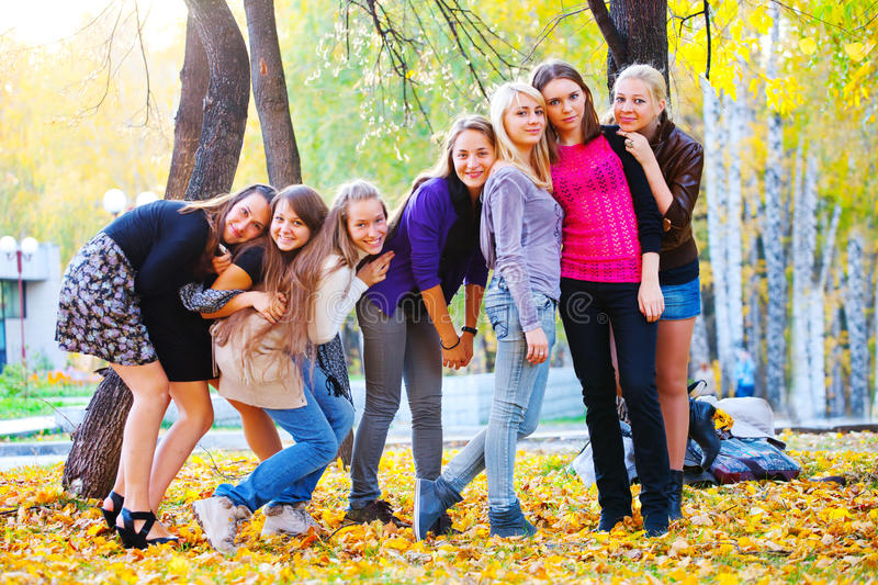 Many young girls in the park. View from top royalty free stock photo