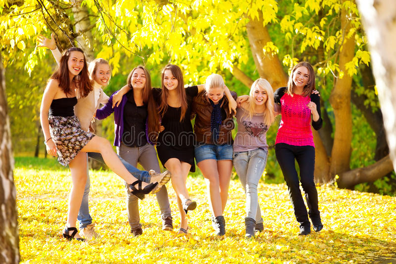 Many young girls in the park. View from top royalty free stock image