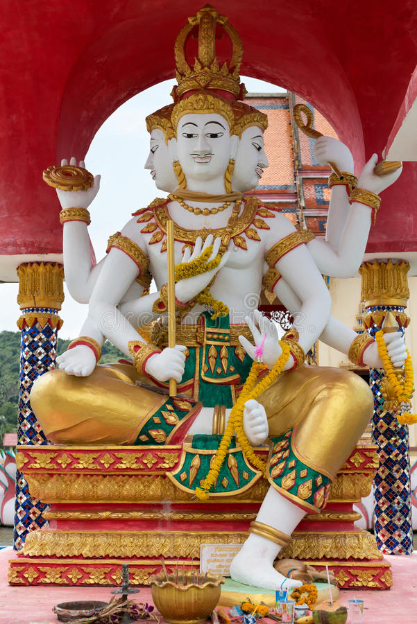 Download Manyfaced Statues In The Temple Wat Plai Laem. Editorial Stock Image - Image: 96125769