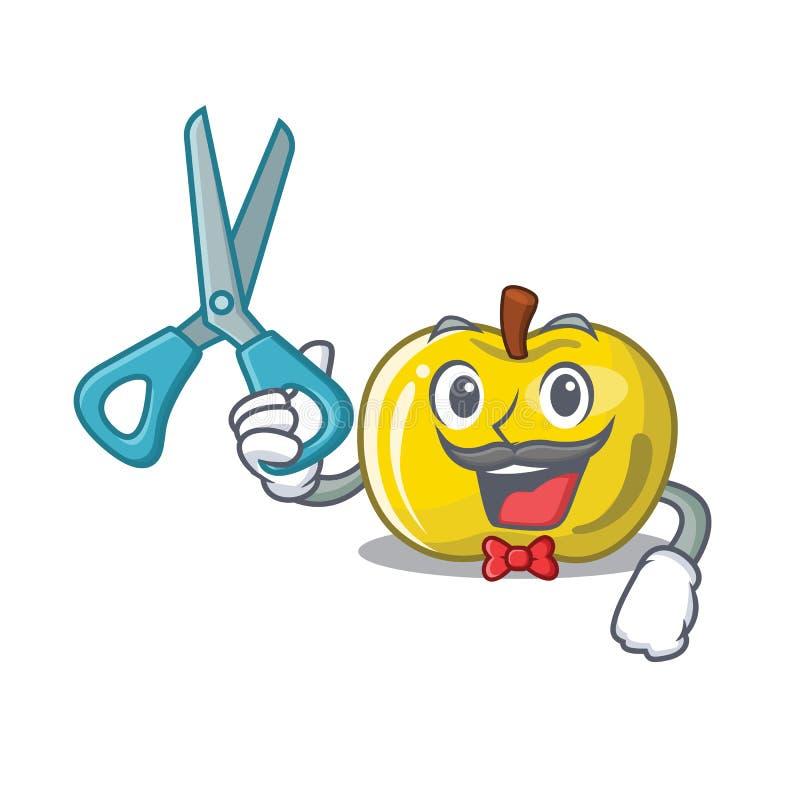 Manzana amarilla del peluquero la forma de la historieta de las rebanadas libre illustration