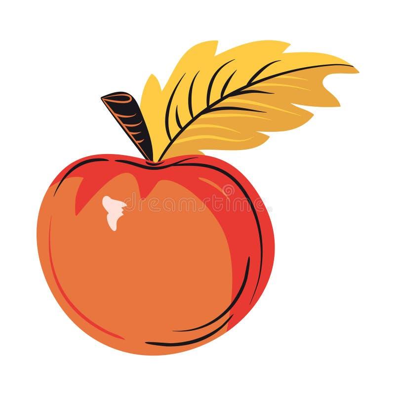 Manzana amarilla madura de la cosecha con una hoja stock de ilustración