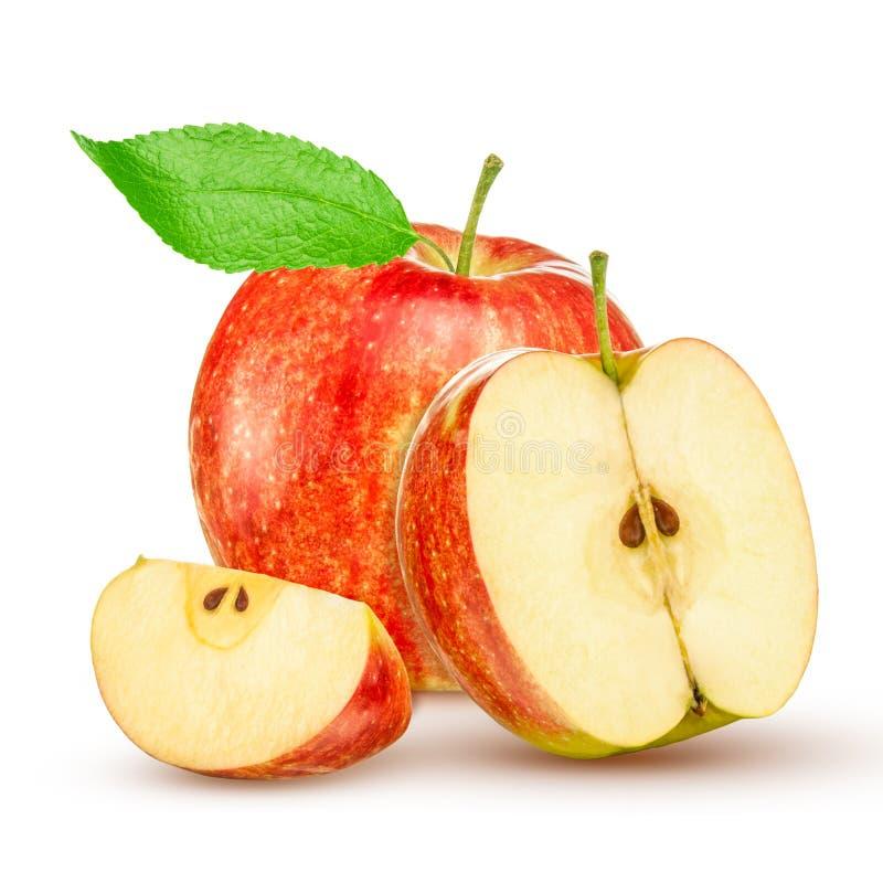 Manzana amarilla roja con la hoja verde y rebanada aislada en el fondo blanco fotografía de archivo