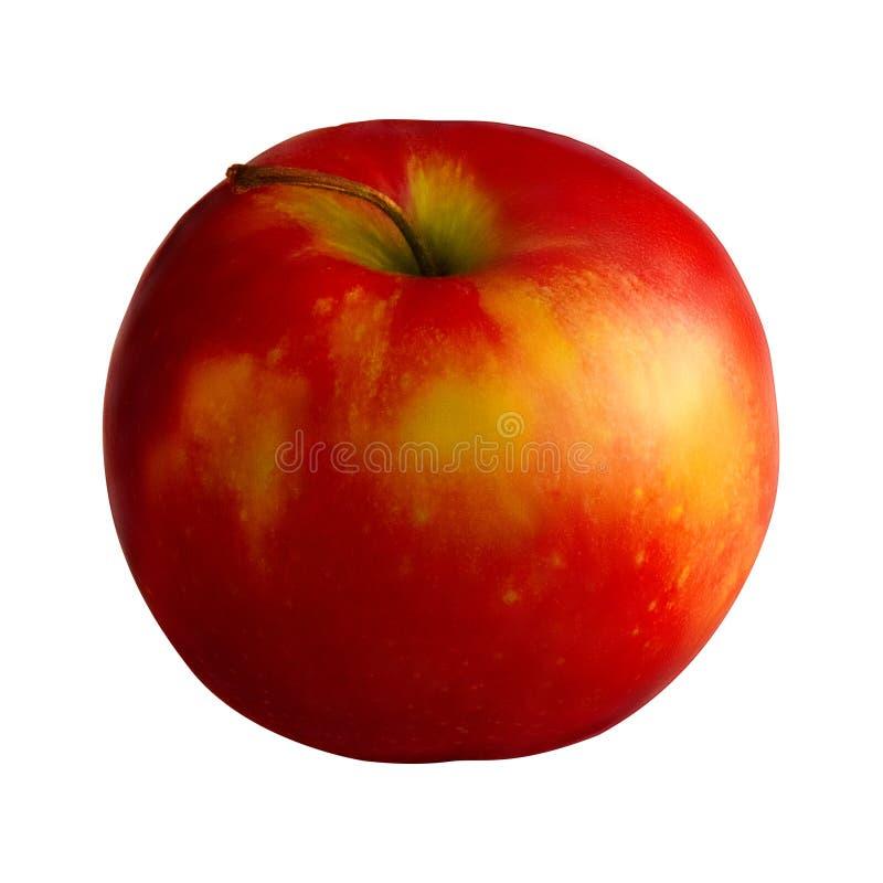 Manzana amarilla roja fresca aislada en blanco fotografía de archivo