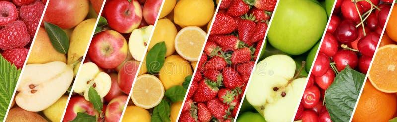 Manzana anaranjada appl de la bandera del fondo de la colección de la comida de la fruta de las frutas fotografía de archivo