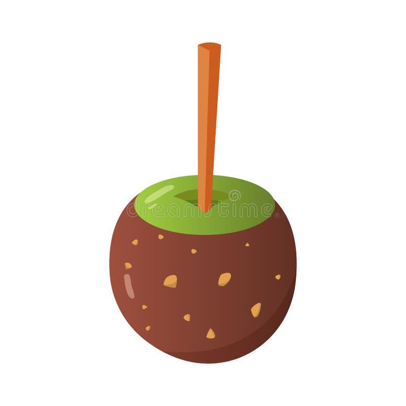 Manzana de caramelo dulce del caramelo y de chocolate Ejemplo del vector en estilo de la historieta ilustración del vector