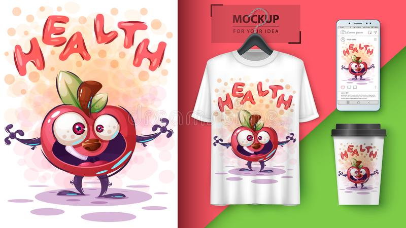 manzana de la salud: burlarse de tu idea stock de ilustración