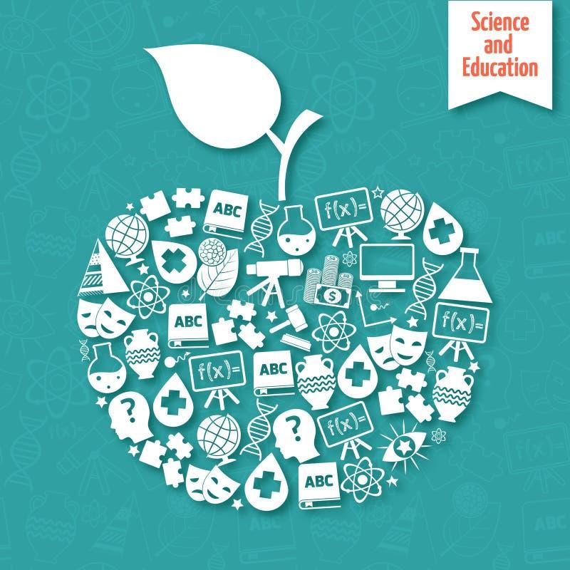 Manzana de las áreas de la ciencia stock de ilustración