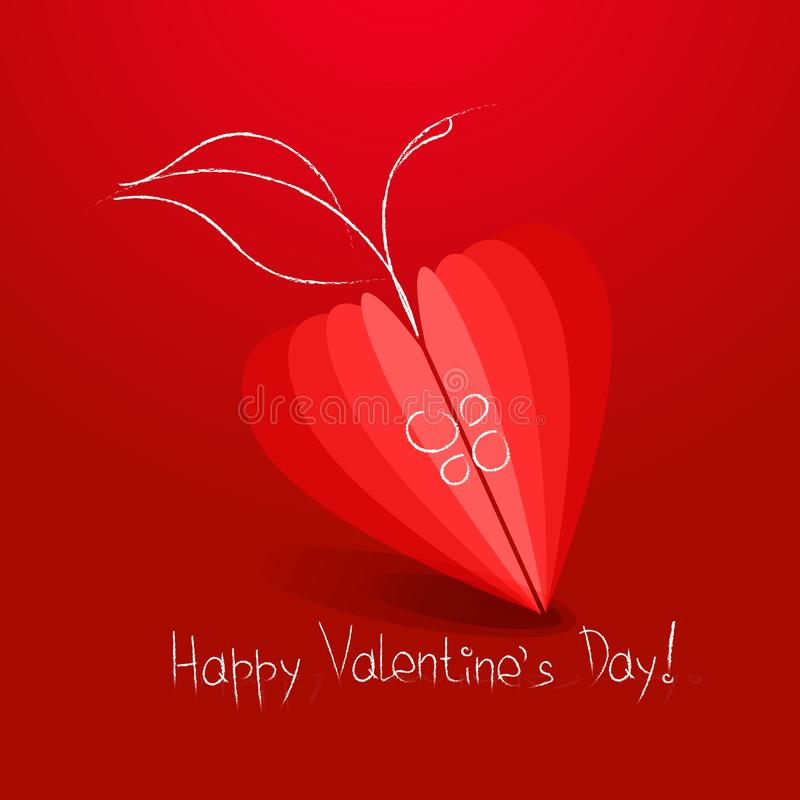 Manzana del símbolo del corazón en el fondo rojo día de San Valentín ilustración del vector