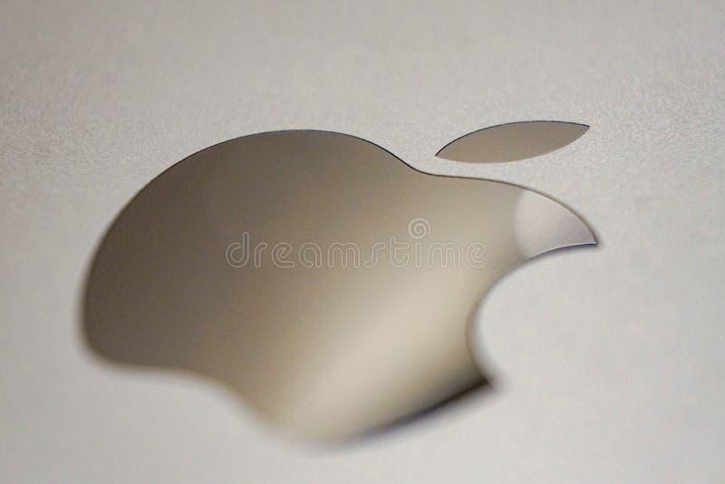 Manzana del símbolo del emblema, manzana mordida fotografía de archivo