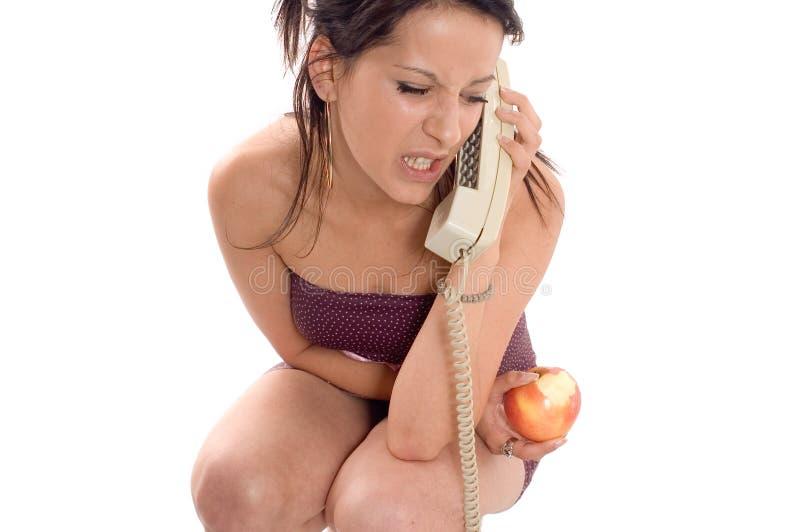 Manzana del teléfono de la llamada imagenes de archivo