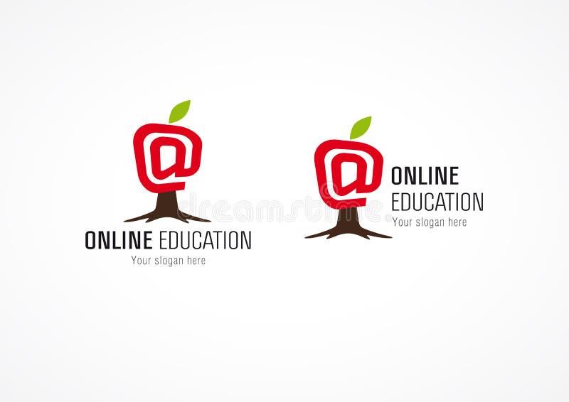 Manzana en línea del árbol del logotipo de la educación ilustración del vector