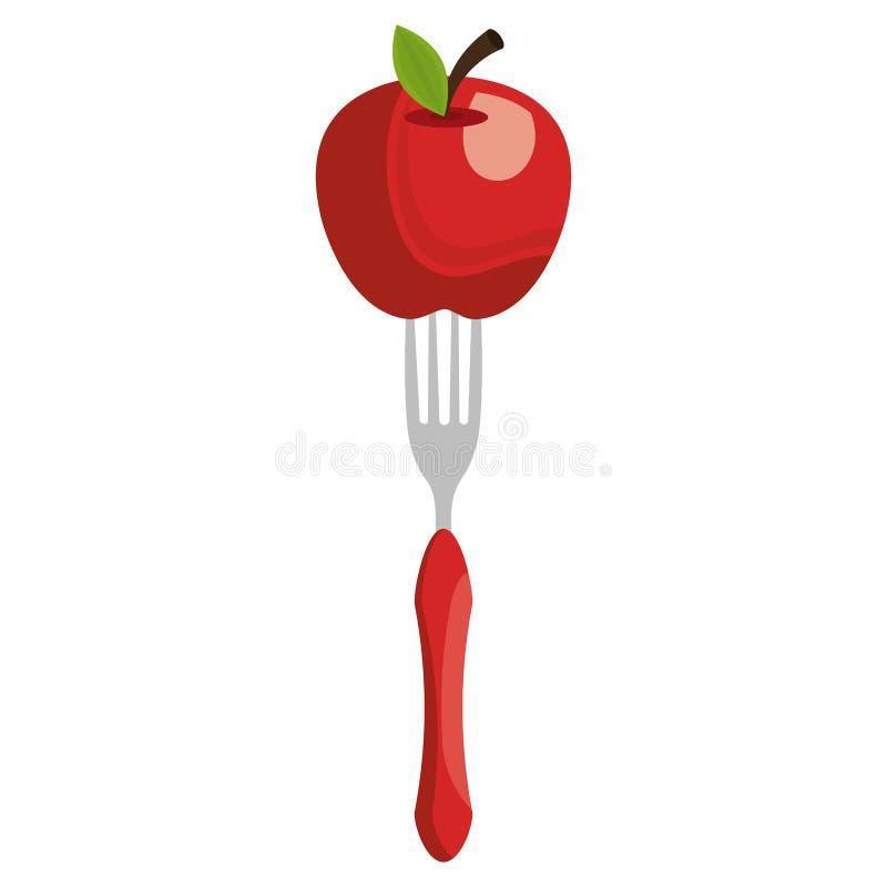 Manzana fresca en la bifurcación stock de ilustración