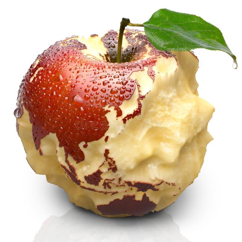 Apple con los continentes tallados. Asia stock de ilustración