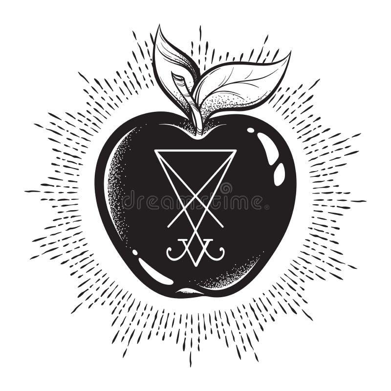 Manzana prohibida de la fruta del árbol del conocimiento con él sigil de Lucifer aisló la línea arte dibujada mano y el illustr d stock de ilustración