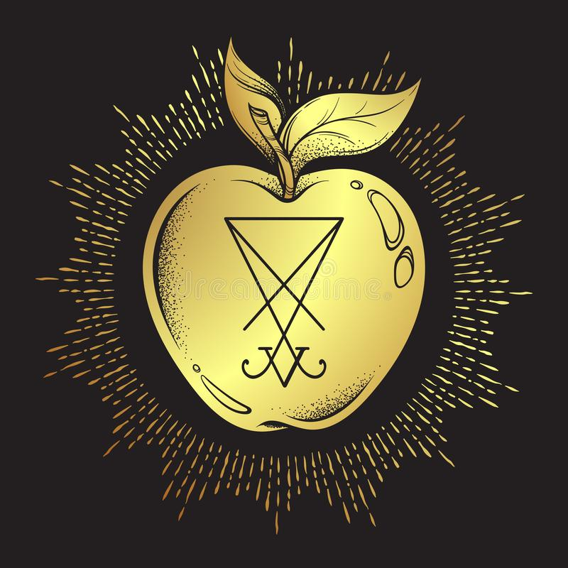Manzana prohibida de la fruta del árbol del conocimiento con él sigil de Lucifer aisló la línea arte dibujada mano y el illustr d ilustración del vector