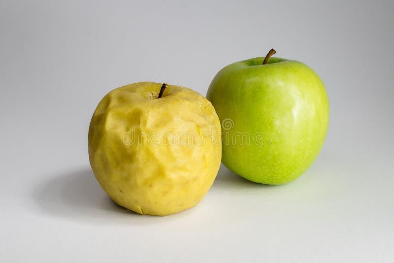 Manzana putrefacta y fresca fotos de archivo