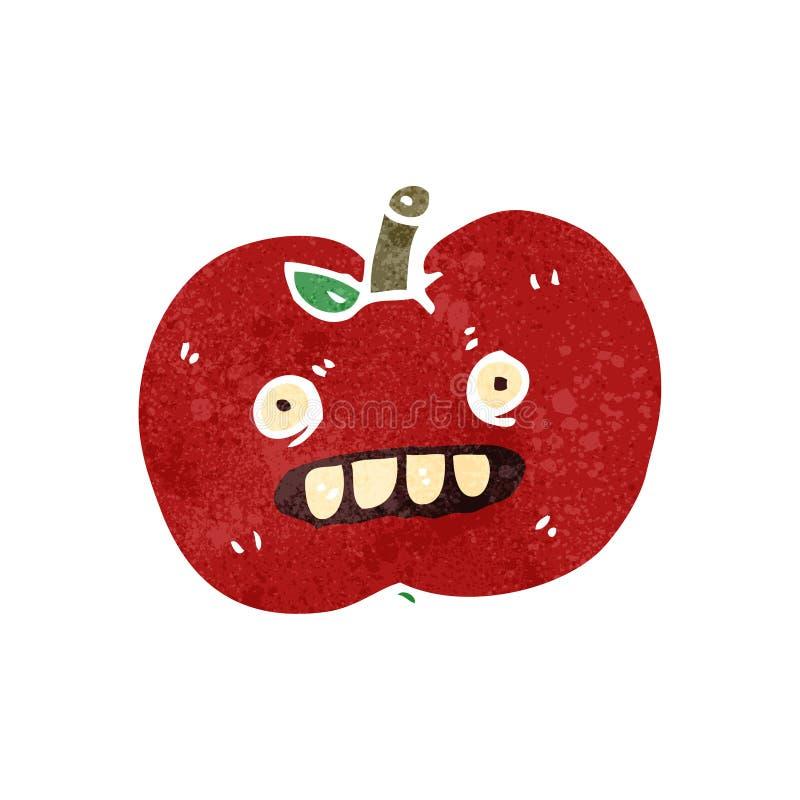 manzana retra del malo de la historieta ilustración del vector