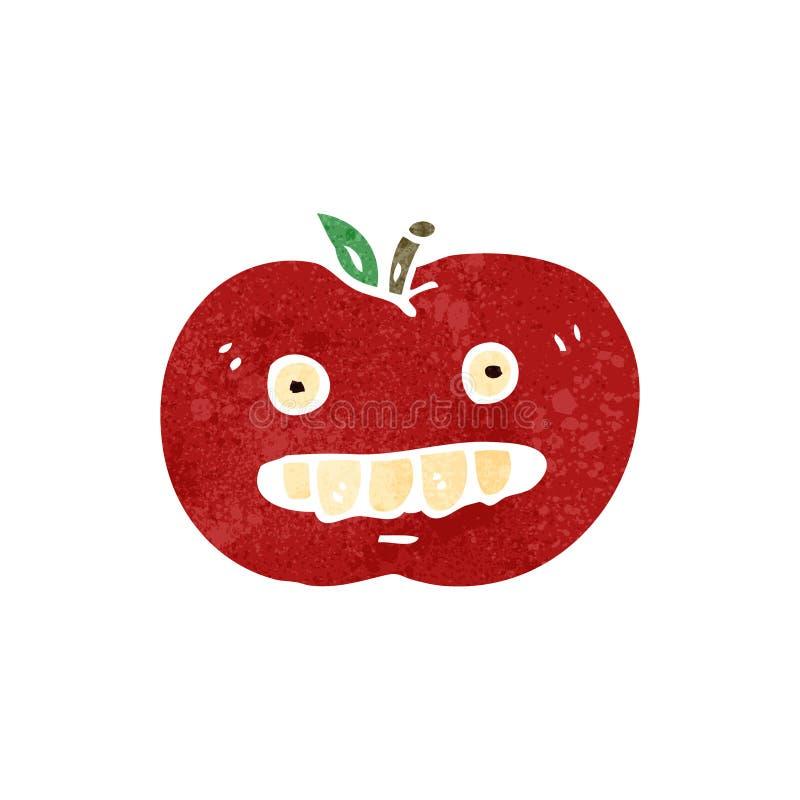 manzana retra del malo de la historieta stock de ilustración